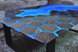 resina epoxi mesa azul panel